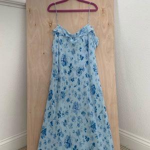 Ralph Lauren Blue Floral Midi Dress Size L